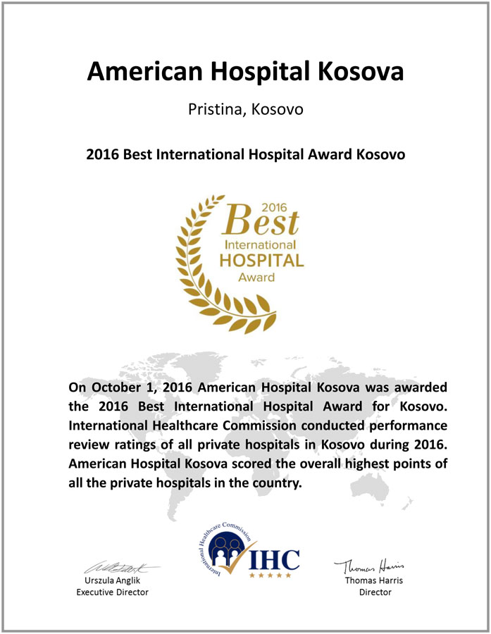 2016 Best International Hospital Award Kosovo